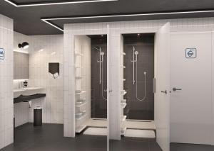 Ванная комната в QUBE Капсульный Отель