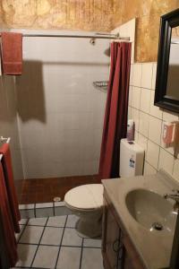 A bathroom at The Underground Motel