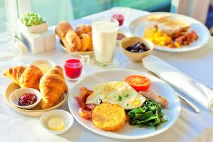 Breakfast options available to guests at Аtria Hotel