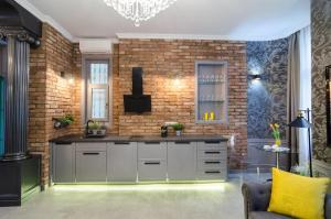 Kuchyň nebo kuchyňský kout v ubytování Viktoria Luxury Apartment