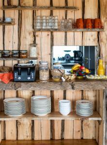 A kitchen or kitchenette at Ytra Lón Farm Lodge