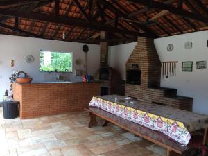 The lobby or reception area at Chácara em Boituva