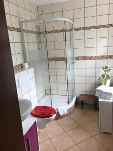 A bathroom at Hotel Plovdiv
