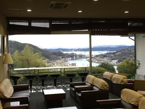 A general mountain view or a mountain view taken from the ryokan