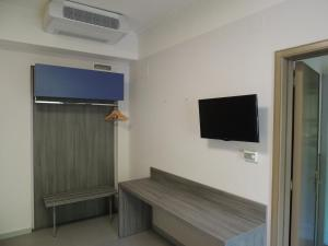 A television and/or entertainment center at Camping Zeus