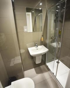 A bathroom at Trebovir Hotel