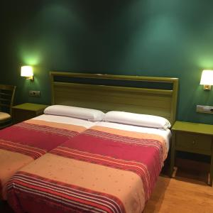 A bed or beds in a room at Hostal Rural Haizea