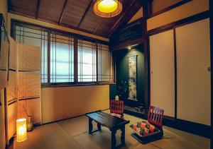 A seating area at Hisato-an Inn