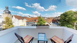 A balcony or terrace at Hotel Goldene Traube