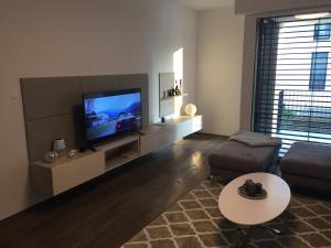 Televízia a/alebo spoločenská miestnosť v ubytovaní Apartmán Golf Trenčín