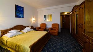 A bed or beds in a room at Hotel Decebal