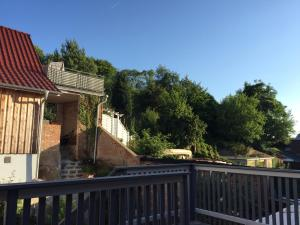 A balcony or terrace at Ferienwohnung am Kalkberg