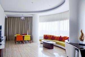 A seating area at Sensa Hotel Bandung