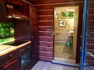 Ein Badezimmer in der Unterkunft Holzhaus Trollblümchen am Wald und See