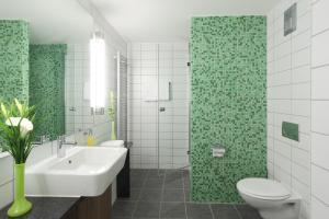 A bathroom at Hotel Global Inn