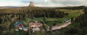 A bird's-eye view of Devils Tower Lodge