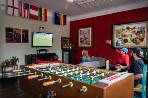 The games room at Flying Dog Hostel
