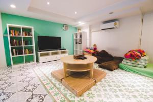 A seating area at D Hostel Bangkok
