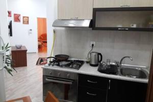 A cozinha ou cozinha compacta de Bank Respublika Apartment