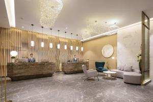 The lobby or reception area at Buddy Hotel