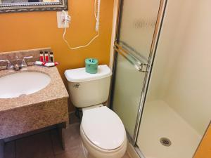 A bathroom at Travelodge by Wyndham Bay Shore Long Island