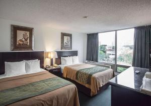 A bed or beds in a room at Comfort Inn & Suites Downtown Edmonton