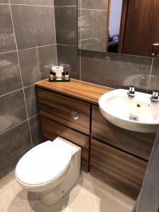 A bathroom at Raglan Lodge