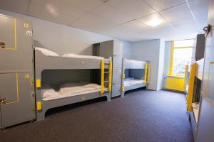 Ein Etagenbett oder Etagenbetten in einem Zimmer der Unterkunft The Flying Pig Downtown