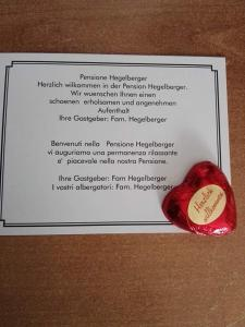 A certificate, award, sign, or other document on display at Hegelberger
