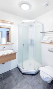 Een badkamer bij Litli Geysir Hotel