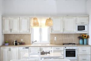 A kitchen or kitchenette at VLIA MAR Myconian Residences