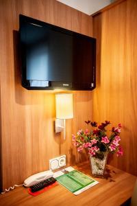 Een TV en/of entertainmentcenter bij Hotel Domblick Garni