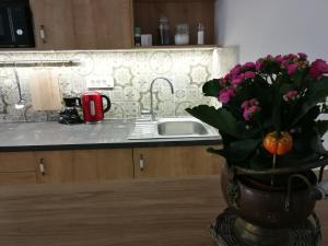 A kitchen or kitchenette at M37 Apartman