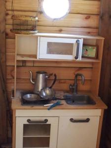 A kitchen or kitchenette at Chalets du Bois de Vache