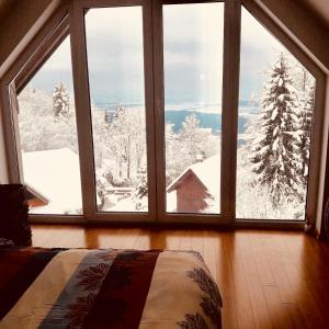 Cottage above the clouds during the winter