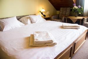 A bed or beds in a room at Hotel Molnár