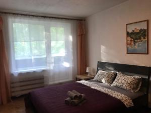 Кровать или кровати в номере Apartment on Michurinskiy 38