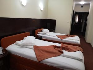 Un pat sau paturi într-o cameră la Hotel Helin Aeroport - Craiova