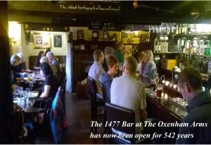 A restaurant or other place to eat at The Oxenham Arms Hotel Devon