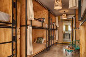 Uma ou mais camas em beliche em um quarto em Mayan Monkey Hotel & Hostel Cabo