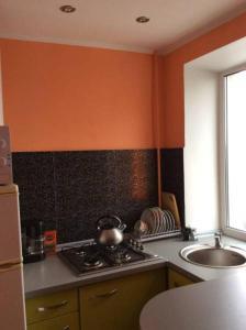 A kitchen or kitchenette at Apart na Himnaziinoi naberezhnii