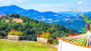 Vista generica sulle montagne o vista sulle montagne dall'interno of country house