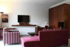 A television and/or entertainment center at Monoberge Hotel