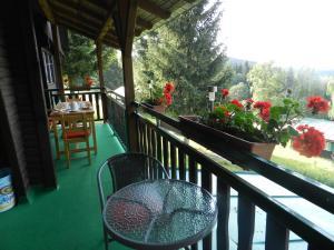 Balkón nebo terasa v ubytování Moravia Soláň, horská chata
