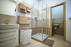 """Koupelna v ubytování """"U Čápa"""" Krásný apartmán v Sedleci"""