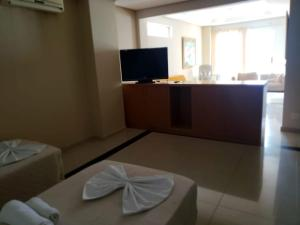 A television and/or entertainment center at Don Limpone Hotel