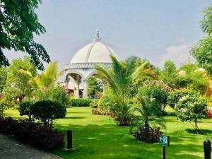 A garden outside Bagan Lodge