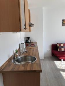 A kitchen or kitchenette at Helle Ferienwohnung an der Rheinpromenade 50 qm