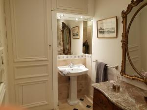 A bathroom at le manoir de la salle