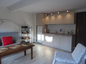 A kitchen or kitchenette at Dom gościnny Pod lasem